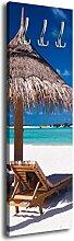 Garderobe mit Design Entspannung am Strand G334 40x125cm Wandgarderobe Sonnenschirm Meer Ozean