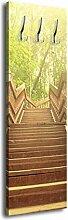 Garderobe mit Design Gartentreppe G277 40x125cm Wandgarderobe Baum Wald Holz