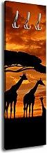 Garderobe mit Design Giraffen im Sonnenuntergang G453 40x125cm Wandgarderobe Afrika Giraffe Sonnenuntergang