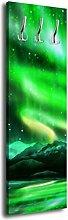 Garderobe mit Design Grünes Nordlicht G362 40x125cm Wandgarderobe Arktis Nacht Lich