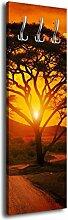 Garderobe mit Design mit Design Afrika Sonnenuntergang G00140x125cm Wandgarderobe Sonne Rot Baum