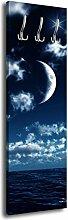 Garderobe mit Design Nachthimmel G040 40x125cm Wandgarderobe Mond Nacht Sterne