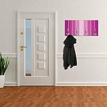 Garderobe mit Design Streifen pink Wandhaken Kleiderhaken Wandgarderobe DG096