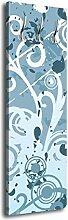 Garderobe mit Design Ulrike G104 40x125cm Floral Muster Wandgarderobe Blau