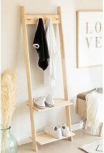 Garderobe mit Schuhregal aus Mako-Holz Braun Natur