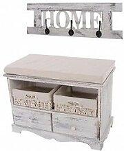 Garderobe mit Sitzbank massivholz weiß