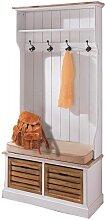 Garderobe mit Sitzbank PROVENCE weiß braun Holz 189x92x40cm My Flair (379,00 EUR / Stück)