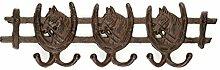 Garderobe Pferd Kleiderhaken Pferde Hufeisen Haken Gusseisen Reiten antik Stil