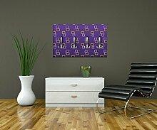 Garderobe Retrokästchen Lila Muster Wandgarderobe M0107 | Querformat - 69x40 (BxH) | Leinwand