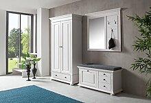 Garderobe, Set, Garderobenschrank, Flurgarderobe, Garderobenmöbel, Dielenmöbel, Flurmöbel, Wandgerderobe, Landhausstil, Astfichte, weiß, massiv