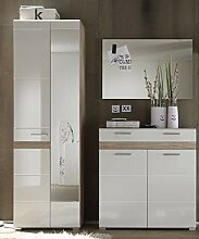 Garderobe SetOne Set 3-teilig in weiß Hochglanz