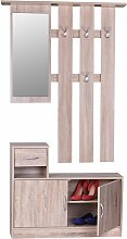 Garderobe Sonoma 90 cm mit Spiegel und