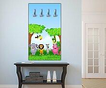 Garderobe Tiergruppe Kinder Wandgarderobe Design | Hochformat - 55x100 (BxH) | Dekorfolie
