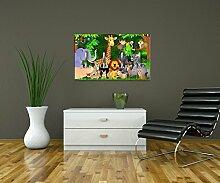 Garderobe Urwaldparty Kinder Wandgarderobe Design | Querformat - 69x40 (BxH) | Dekorfolie