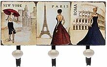 Garderobe Wandgarderobe Metall Wandhaken Paris Rom New York Handtuchhalter Haken