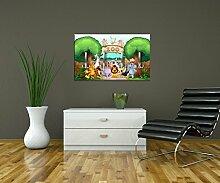 Garderobe Zootiere Kinder Wandgarderobe Design | Querformat - 69x40 (BxH) | Dekorfolie Kratzschutz Ma