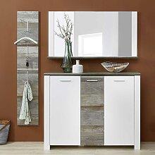 Garderoben Kombination in Weiß und Treibholz