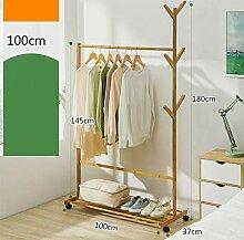 Garderoben Monorail Bambus Kleiderständer mit 6