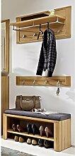 Garderoben Set 3-tlg NATUREX258 Kernbuche massiv, Kernbuche Nb., Flur Sitzbank 90 cm mit Schuhfach, Garderobenpaneel 90 cm, Hakenleiste 90 cm mit 4 Kleiderhaken