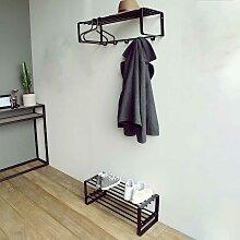 Garderoben Set aus Stahl Schwarz (2-teilig)