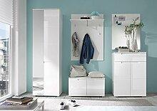 Garderoben-Set in Hochglanz weiß, Schrank B: 60 cm, Paneel B: 80 cm, Bank B: 80 cm, Spiegel B: 70 cm, Schuhkommode B: 70 cm