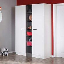Garderoben Set in Weiß und dunkel Grau 130 cm