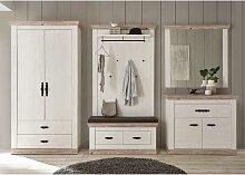 Garderoben Set in Weiß und Kieferfarben