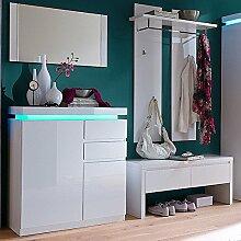 Garderoben Set LAZURE148 Hochglanz weiß lackier