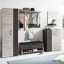 Garderoben Set NORWICH-10 Sandeiche Nb. / Lava, B