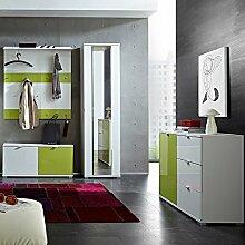 Garderoben Set RAINYBOW131 Hochglanz weiß, grün