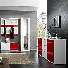 Garderoben Set RAINYBOW131 Hochglanz weiß, ro