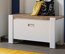Garderobenbank Medine 80 cm Weiss mit einer Klappe