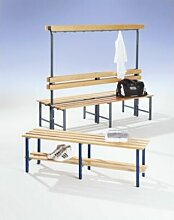 Garderobenbank mit Hakenleiste und Holzleisten -