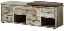 Garderobenbank mit Sitzlpolster Vintage Driftwood