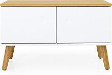 Garderobenbank - Scandi - Weiß/ Eiche