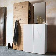 Garderobenkombination in Weiß Hochglanz Eiche