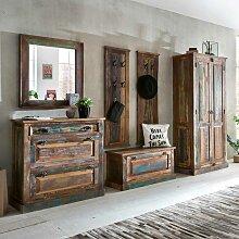 Garderobenmöbel im Shabby Chic Design Bunt Braun (6-teilig)