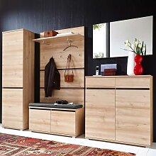 Garderobenmöbel Set in Buche Dekor mit Bank