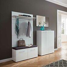 Garderobenmöbel Set in Weiß Glas beschichtet