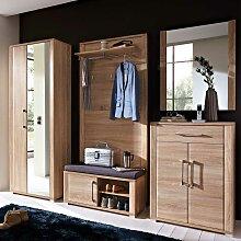 Garderobenmöbel Set mit Bank und Spiegel Eiche