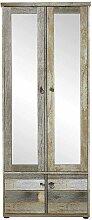 Garderobenschrank in Grau Treibholz Dekor Spiegel