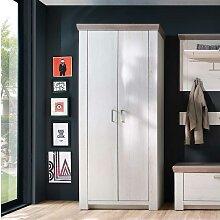 Garderobenschrank in Pinie Weiß und Eiche
