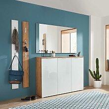 Garderobenset in Weiß und Eiche modern (4-teilig)