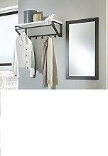 Garderobenset mit Wandspiegel in anthrazti und Wandgarderobe in anthrazit-weiß