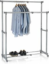 Garderobenwagen Rollgarderobe Kleiderständer Kleiderwagen Garderobenständer Rollkleiderständer CASA in grau, 2 Kleiderstangen, Metallgestell verchromt, höhen- und breitenverstellbar