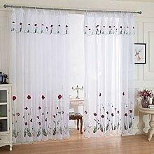 Gardine aus Voile Weiß Blumen Stickerei Vorhänge