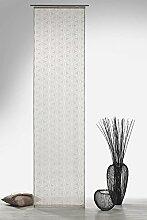 Gardine Flächenvorhang in Batist-Optik Blumen grafisch in stein grau halbtransparent HxB 245x60 cm - Schiebegardine Ausbrenner Modern Chic Natur ...auspacken, aufhängen, fertig! Schiebevorhang Typ325