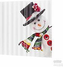 Gardine Vorhäng Weihnachten Schneemann Muster 3D