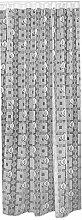 """Gardine, Vorhang, Schlaufenschal, Store Maßanfertigung in Weiss """"""""Birkenblatt Karo Design"""""""" Höhe: 180cm, Breite:freiwählbar (180x140cm)"""