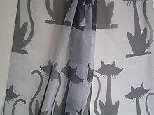 Gardinen Dekostoff grau mit Katzen schwarz
